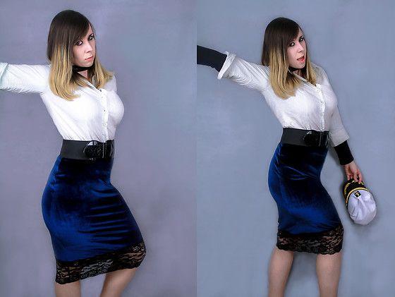 Get this look: http://lb.nu/look/8702891  More looks by Shanna May: http://lb.nu/itsshannamay  Items in this look:  Boohoo Kiah Lace Hem Velt Skirt   #elegant #romantic #vintage #office #nautical #blouse #blue #velvet #midi