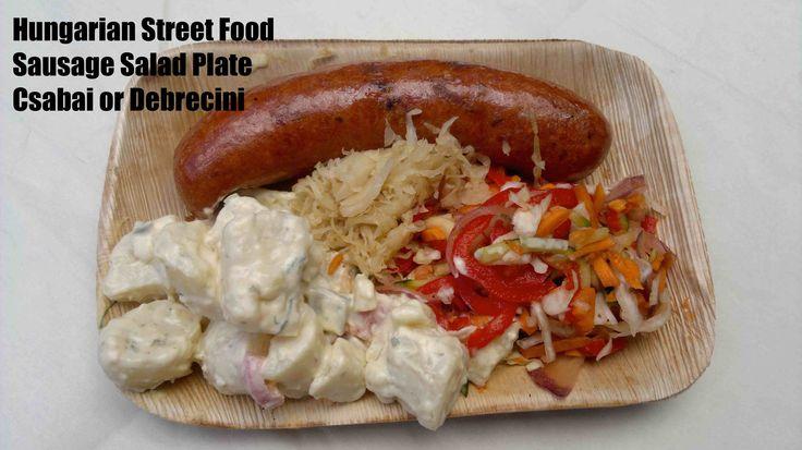 Hungarian Street Food - Sausage (Kolbaz) on a Salad Plate