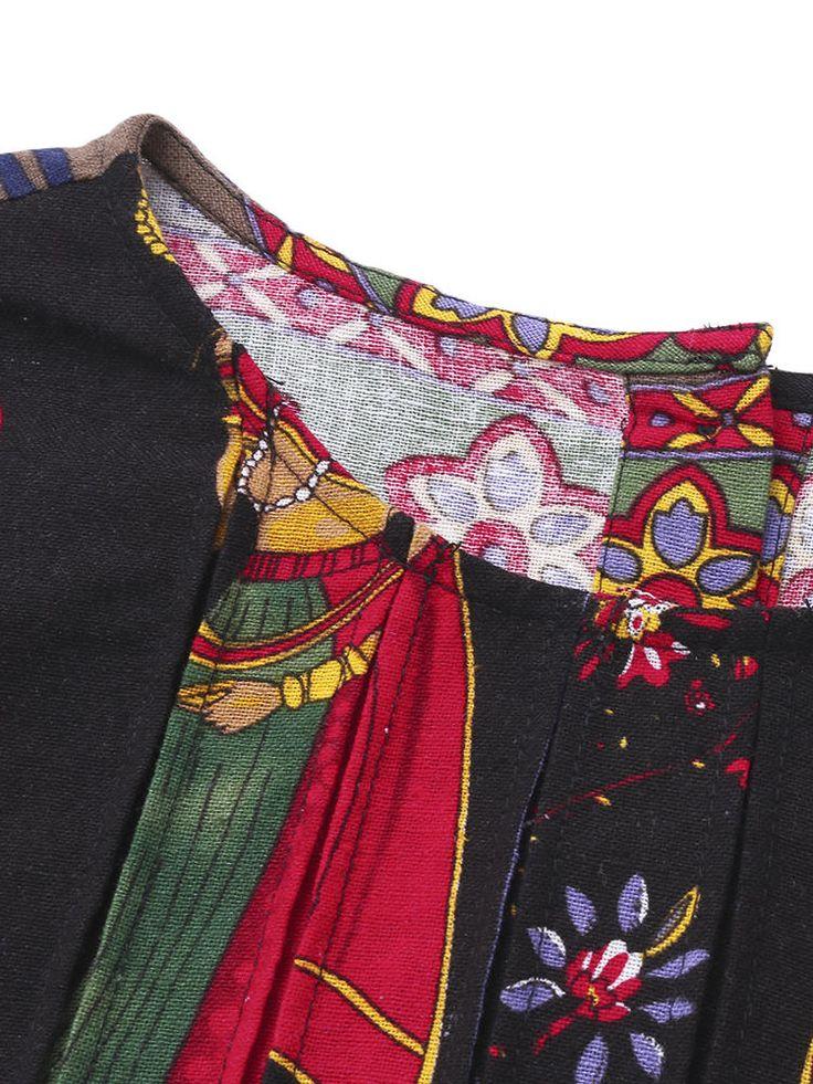 Gracila Ethnic Women Printed O-neck Irregular Blouses at Banggood