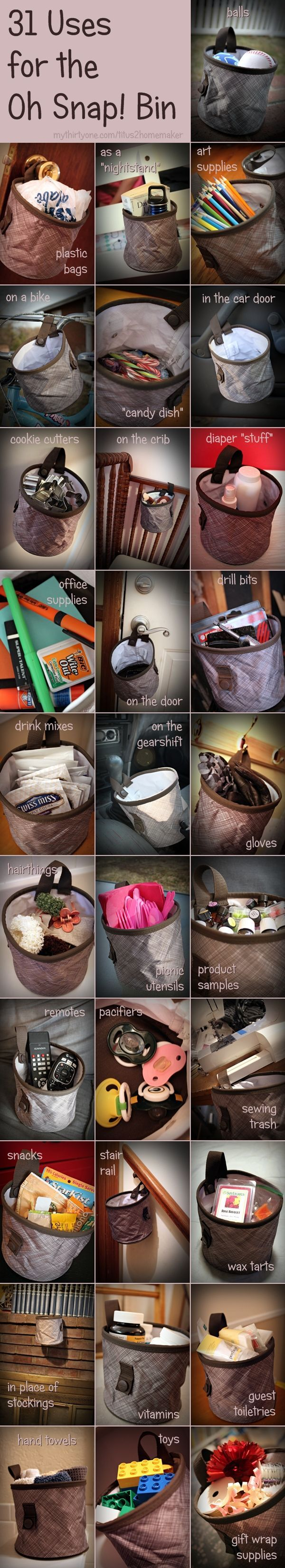 31 Ways to use the Oh Snap! Bin. These ideas should get you started. www.mythirtyone.ca/Lynae