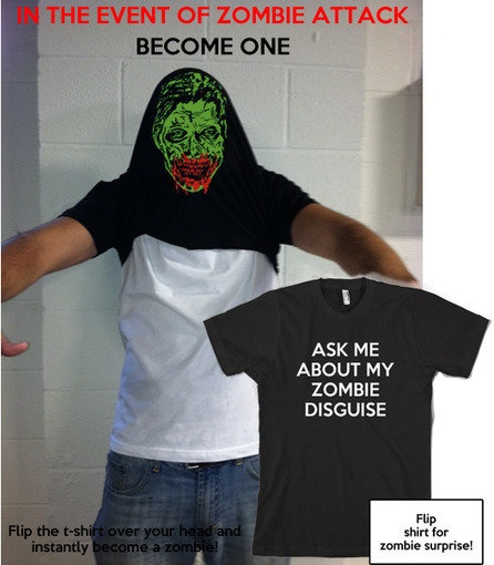 Zombie Disguise t shirt funny zombie shirt size S-3XL. $18.99, via Etsy.