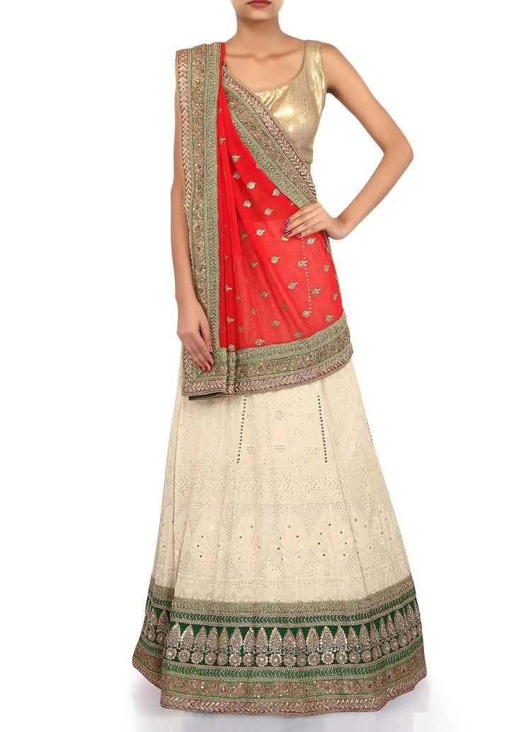 Half and half lehenga saree in red and cream adorn in lucknowi thread embroidery only on Kalki - Kalkifashion.com