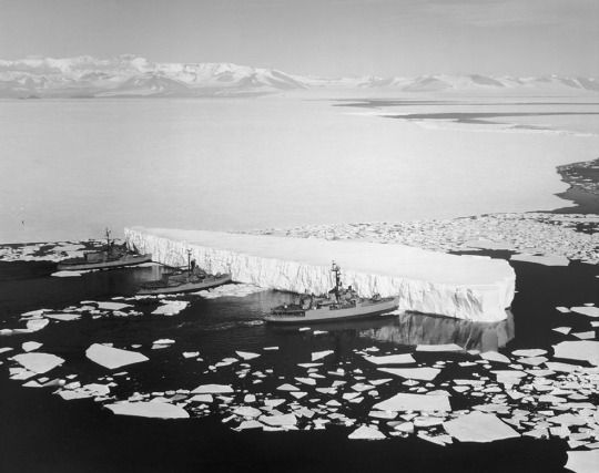 1965: Three U.S. Navy icebreakers push an iceberg to clear a channel leading to McMurdo Station, Antarctica.