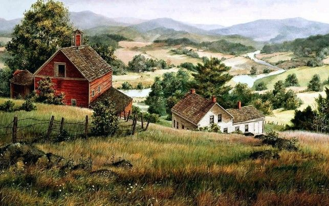 Hills Farm Houses River Valley wallpapers and stock photos