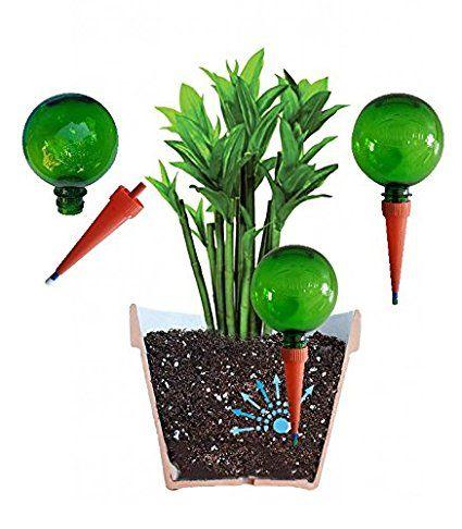 (Confezione da 2 Verde), Plantpal sistema di irrigazione per piante Aqua Globes-Bulbi spuntoni per irrigazione automatica piante in vaso con sistema di irrigazione per le vacanze dispositivi per una sana crescita delle piante Auto innaffiante.