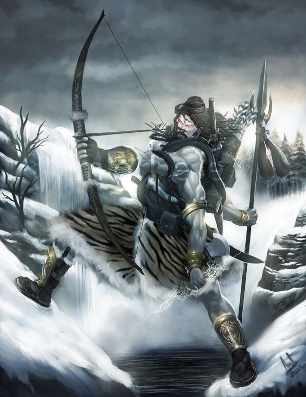 Rudra.. Rudra's name means howler or crier, he is the god of destruction, thunder, disease, medicine, chaos, wildness, anger and hunting. He is the father of the Maruts and is the most terrifying g...
