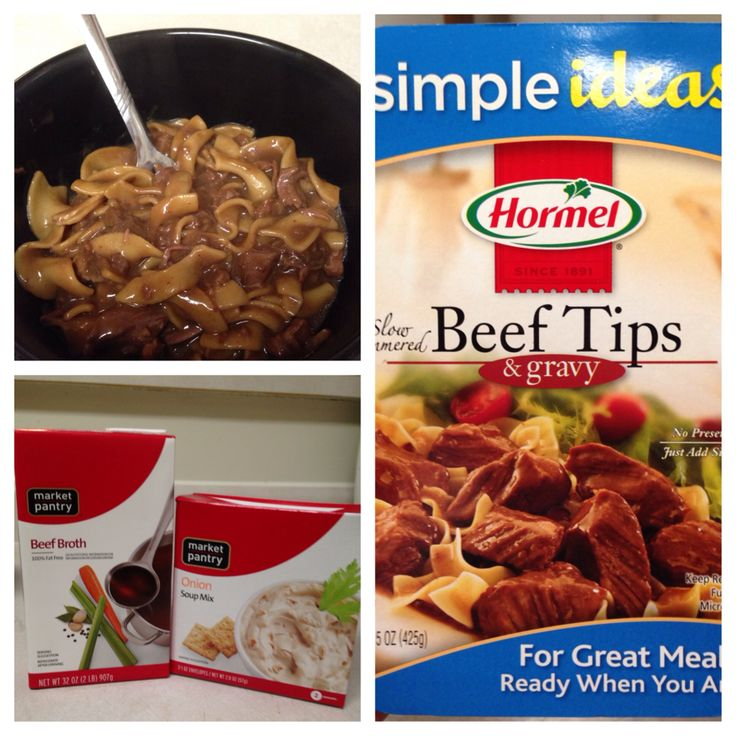 SUPER Simple Beef and Noodles. 1/2 bag of egg noodles 1 packet onion soup mix 1 box of beef broth 2 Hormel beef tips in gravy Serves at least 4 1. Pour beef broth into pot and add onion soup mix. I add about another cup and a half of water to cut down the salt of the soup mix. 2. Pour in 1/2 bag of egg noodles into cold broth mix. 3. Bring to medium boil until most of the liquid cooks out. 4. Heat beef tips in micro per instructions and add to noodles. 5. Voila! Delish!!