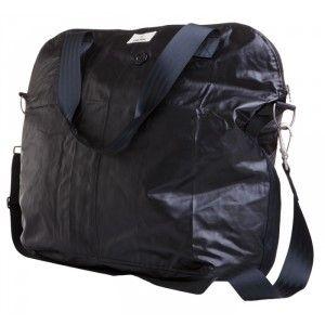 A stylish black rain-friendly bag - Myrsky - Globe Hope. Made from old army raincoats.