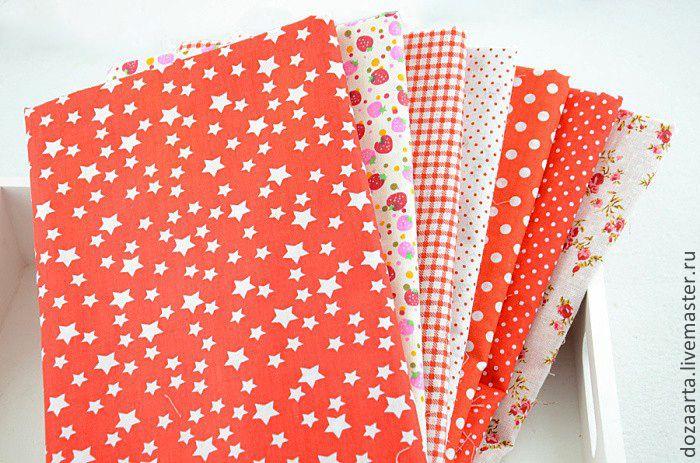 Набор тканей из 7 отрезов 50х50см - ярко-красный,набор тканей,ткань для кукол