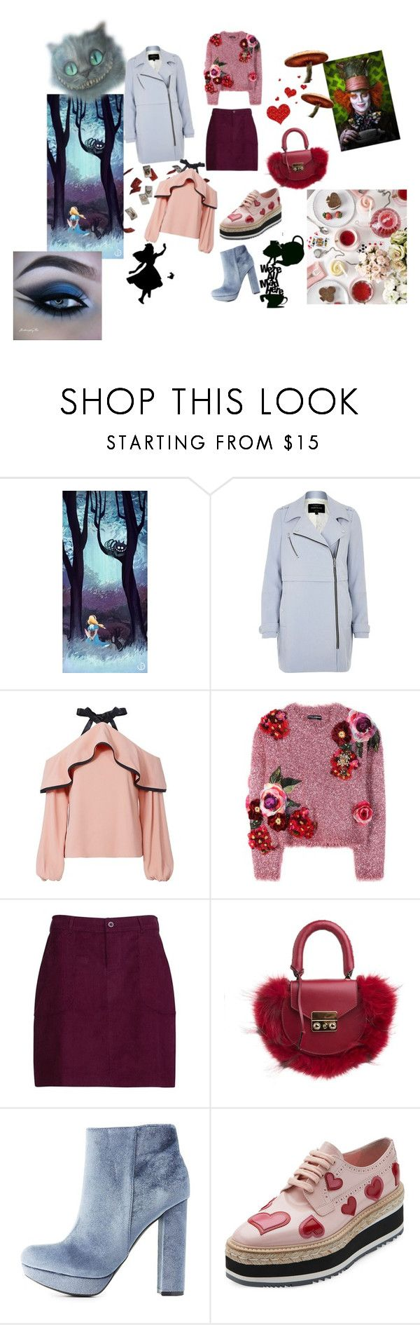 """Aliz csodaországban fantasy/ Alice in wonderland fantasy"" by sgtpepperdine ❤ liked on Polyvore featuring Burton, Ask Alice, River Island, Alexis, Dolce&Gabbana, SALAR, Charlotte Russe and Prada"