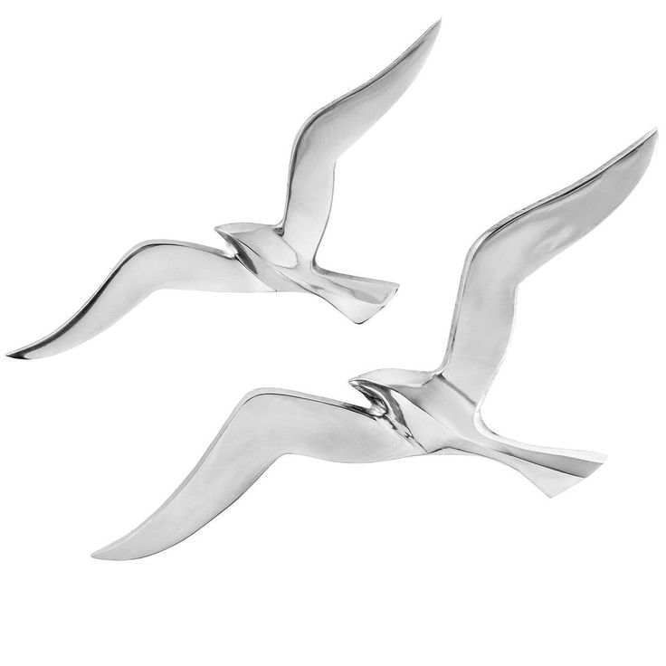 Wall Mounted Flying Seagull Bird Ornaments Home Decor Aluminium 1 Pair #Home33Accessories