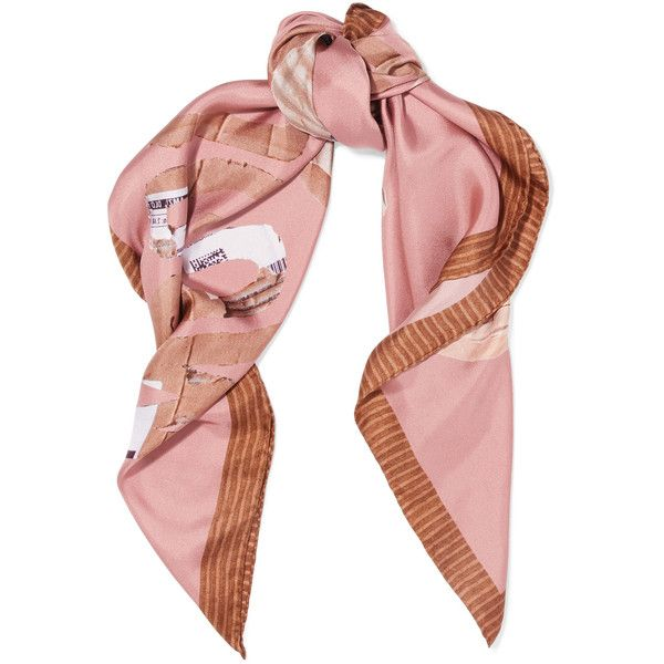 Moschino Teddy printed silk-satin scarf ($185) ❤ liked on Polyvore featuring accessories, scarves, fillers, pink, moschino, colorful scarves, colorful shawls, loop scarves and pink scarves