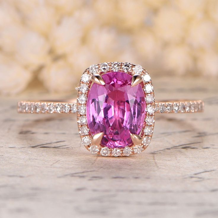 6x8mm Oval Cut Pink Sapphire and Diamond Engagement Ring 14K Rose Gold Cushion Halo Stacking Ring - Sapphire Engagement Rings - Gemstone - Engagement Rings