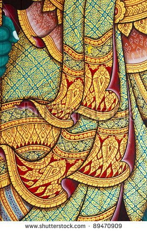 stock photo : Vintage traditional Thai style art painting on temple for background. The temple is open to the public domain and has beautiful murals on the walls.