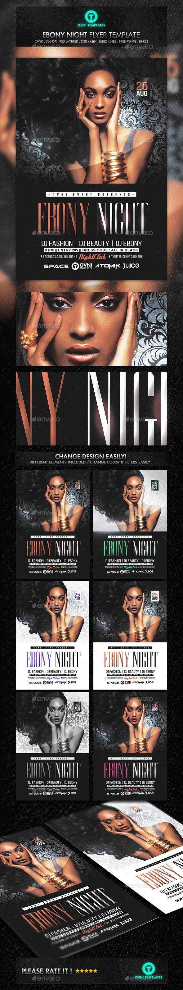 Ebony Black Fashion Model Flyer Template — Photoshop PSD #party #black • Available here → https://graphicriver.net/item/ebony-black-fashion-model-flyer-template/16653670?ref=pxcr