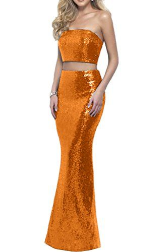 Gorgeous Bridal Two Piece Mermaid Strapless Prom Evening Wedding Guest Dresses US Size 8 -- Click image to review more details.