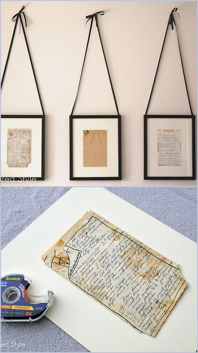 DIY Framed Family Recipes - for the kitchen or dinning room.