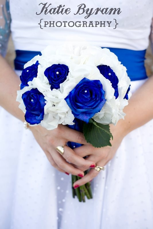 These are real royal blue flowers for a quirky 1950's themed wedding.  http://www.photographybykatie.co.uk