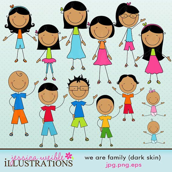 Cute Stick Figures Dark Skin We Ar...