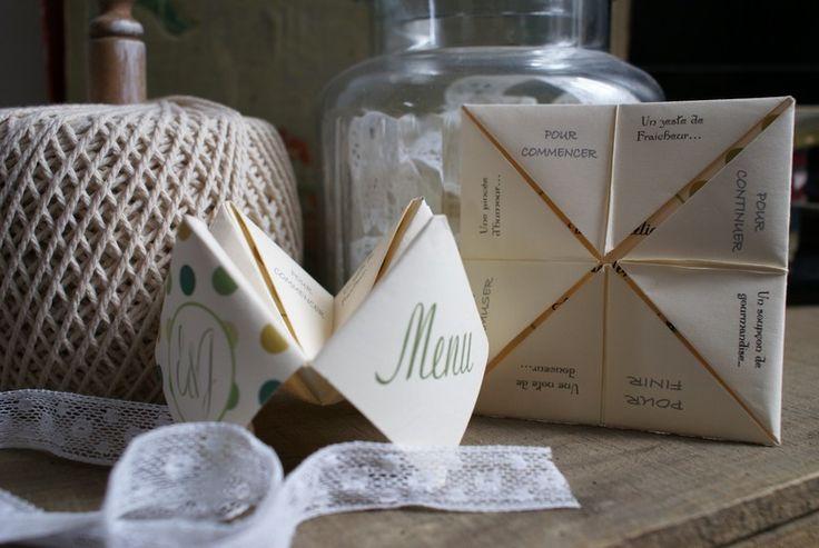 Décorations de mariage, Menu façon Cocotte en papier est une création orginale de MadameBABIOLES sur DaWanda