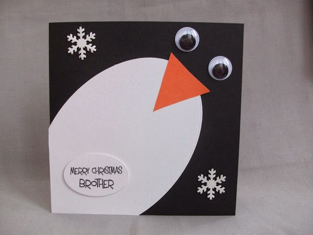 simple penguin body card with googly eyes and happy christmas brother message                                                                                                                                                                                 More