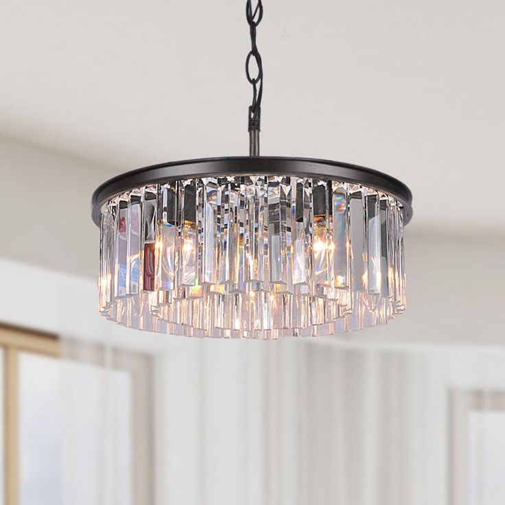 Justina 5 Light Antique Black Chandelier With Crystal