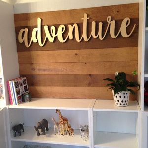 **ABOUT THE SIGN**  Introducing BB Signs newest sign options- CNC wood and metal words! We are offering custom words and phrases out of either 1/2 MDF wood, or mild steel. Other material options are available, so please message us to find out about pricing and availability! This listing is for the word adventure made from 1/2 mdf and measures aprox. 45 wide by 11 tall, and is painted gold. Other paint options are available, so please let us know if you have another request before you order…