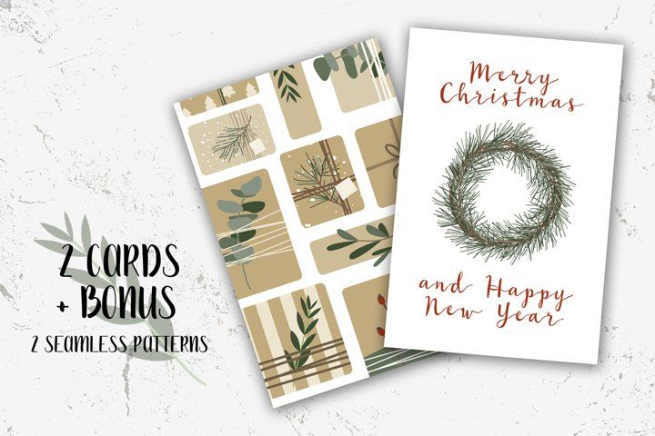 2 Christmas Cards And Bonus Merry Xmas And Happy New Year 902965 Seasonal Design Bundles Free Printable Birthday Cards Birthday Card With Name Create Birthday Card