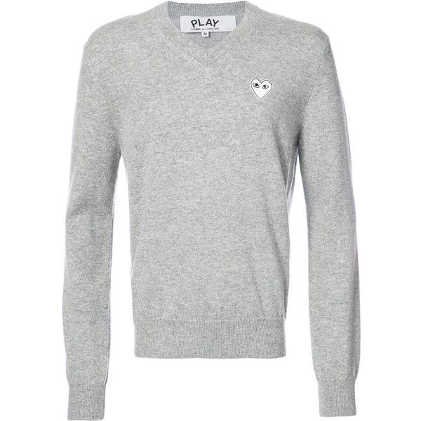 Comme Des Garçons Play v-neck pullover with white heart (380 CHF) ❤ liked on Polyvore featuring men's fashion, men's clothing, men's sweaters, grey, mens vneck sweater, mens gray sweater, mens grey sweater, mens white sweater and mens v neck sweater