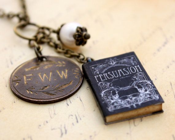 Persuasion Jane Austen Miniature Book Necklace and Old Victorian Love Token... I want this. now.