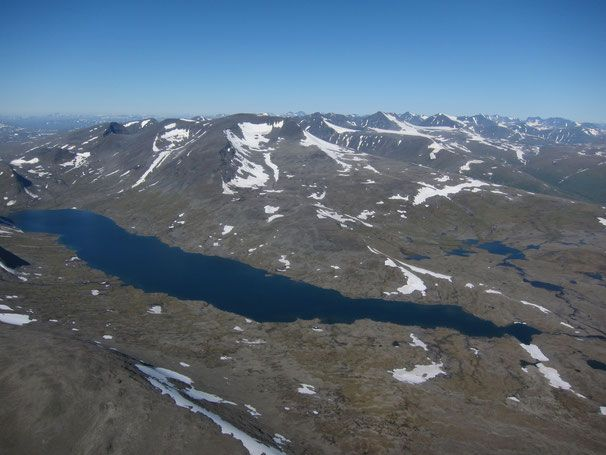 View from the helicopter to Laptavakkjavrre with the Sarek mountains in the background #trekking #sarek #sweden