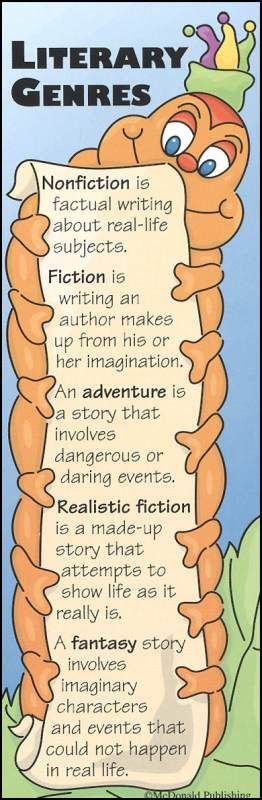 Literary Genres Bookmark~ This cute bookworm comes in two styles and costs thirty-five cents a piece.