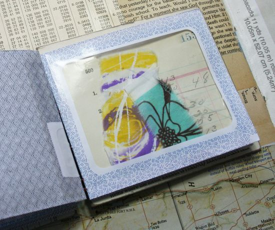 Mini album made from security envelopes by Patty Van Dorin