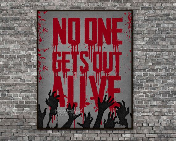 Halloween Zombie Typographic Poster Decor  by hairbrainedschemes, $15.00