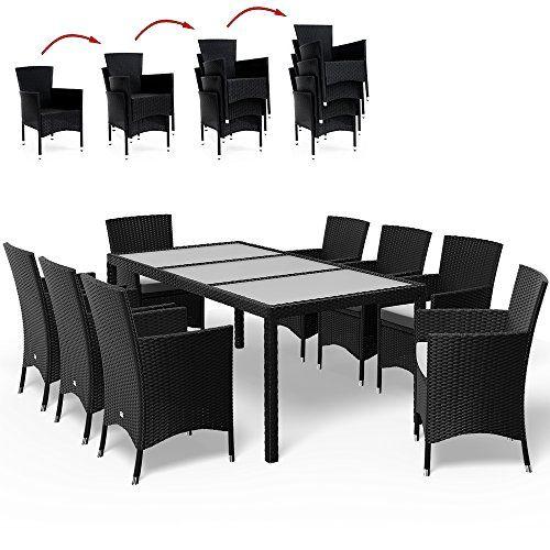 Salon de jardin 17 pcs polyrotin Ensemble table et chaises noir ...
