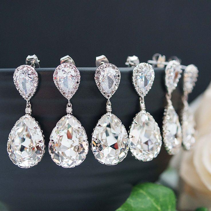 Clear White Swarovski Crystal Tear Drops Bridesmaid Earrings - Earrings Nation
