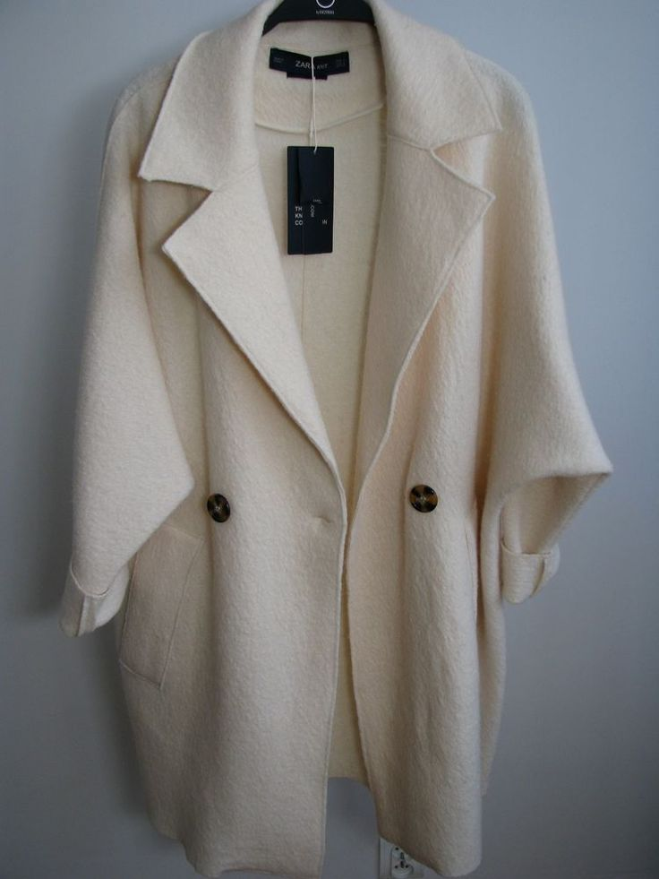 NWT ZARA 100% Wool COAT WITH KIMONO SLEEVES Oversize Size S Ref.9598/118 #ZARA #DoubleBreasted #Casual