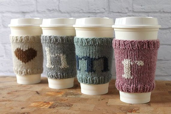 Coffee Cozy, Knit Coffee Sleeve, Personalized Coffee Cup Cozy, Monogram Coffee Cozy, Reusable Coffee Cozy, Stocking Stuffer, Hostess Gift