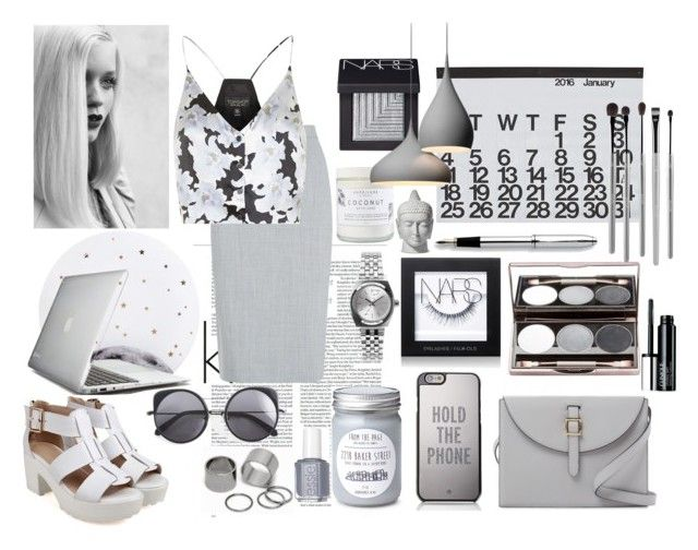 """Grey On Grey"" by cavffeine ❤ liked on Polyvore featuring Meli Melo, Kate Spade, Lollipop, Nude by Nature, Pieces, Crate and Barrel, Clinique, NARS Cosmetics, Nixon and Herbivore"