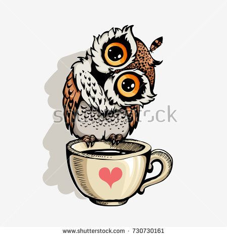 Cute owl cartoon vector bird character. Hand drawn vector illustration for t-shirt print design, greeting card. Isolated on white