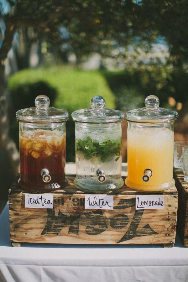 Drinks bar - water, iced tea and lemonade plus limeade, iced fruit punch, virgin banana piña colada and tropical mango smoothie.