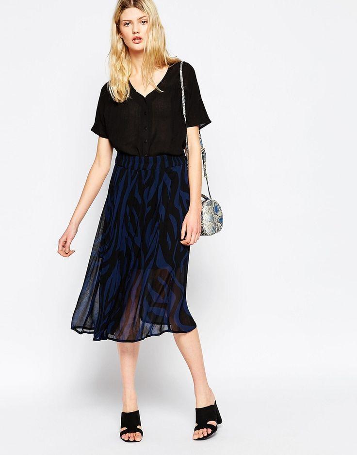 Ganni+Gardena+Georgette+Blue+Zebra+Print+Skirt