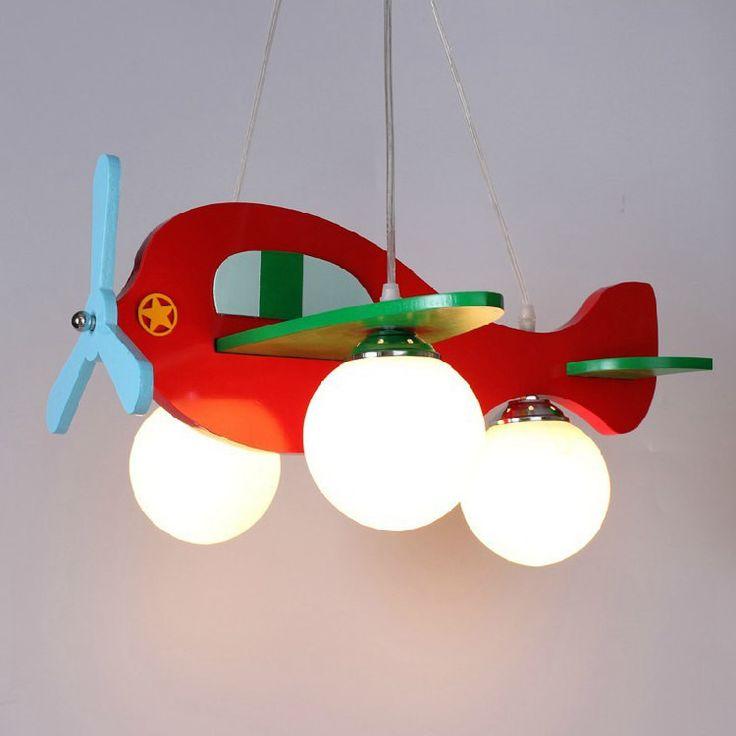 Children Model Plane Bedroom Pendant Lamps glass Lampshade Kids Lights Fixtures E27 LED ,