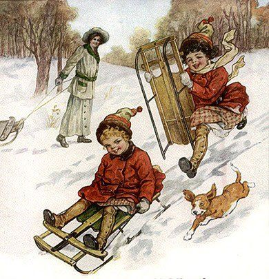 Vintage Skiing -  Skiing - Vintages Cards -  skiing, ski, vintage, xmas, christmas, holidays, free, clipart,