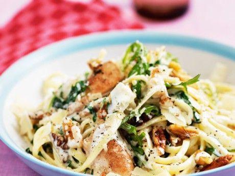 Pasta med kyckling,  valnötter och rucola Receptbild - Allt om Mat