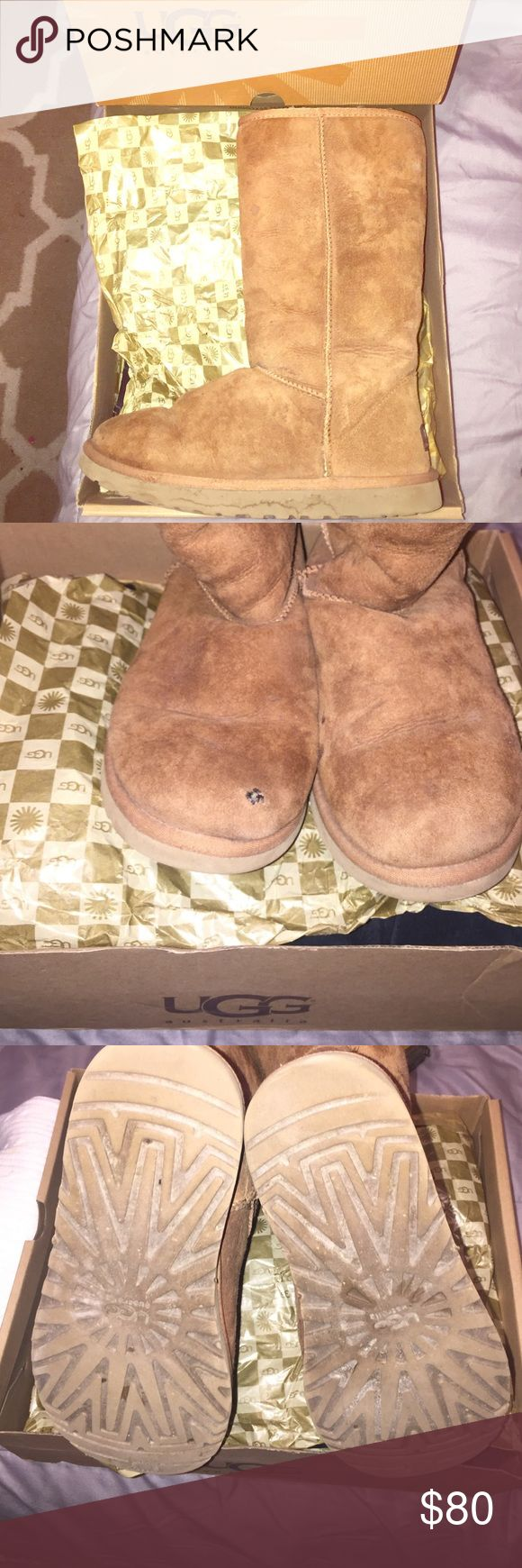 Ladies UGGs long chestnut color boots Chestnut tall ladies uggs. Authentic. Well taken care of. WORN several times but has 1 minor detail, it has one small hole on toe . I didn't knw how to fix. Size 8 UGG Shoes Winter & Rain Boots