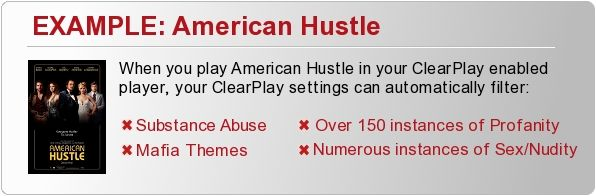 When you insert American Hustle into your ClearPlay DVD Player, the ClearPlay filter automatically removes: Substance Abuse, Mafia Themes, O...