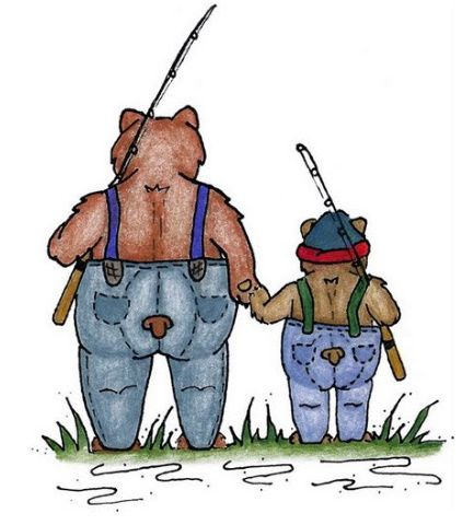 Bear And Cub Fishing