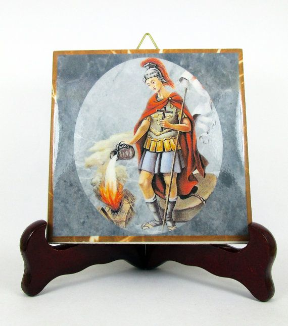 Saint Florian #devotional collectible tile.  A perfect #Catholic gift.  Now available on #Etsy https://www.etsy.com/it/listing/242035841/saint-florian-wall-art-ceramic-tile