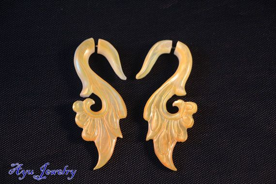 Ethnic MoP Earring Organic Sea Shell Fake Gauge by ayujewelry, $14.50 http://www.etsy.com/shop/ayujewelry